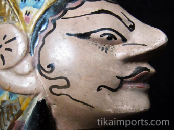 traditional wayang golek puppet Nakula from the Mahabharata. Handmade in Java, Indonesia
