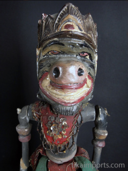 traditional wayang golek puppet Anila from the Ramayana. Handmade in Java, Indonesia