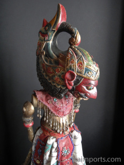 traditional wayang golek puppet Indrajid from the Ramayana. Handmade in Java, Indonesia