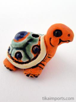 ceramic orange turtle bead - handmade and painted in Peru