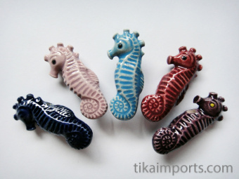 Seahorse ceramic bead in assorted colors ~ individually handmade and hand-painted in Peru