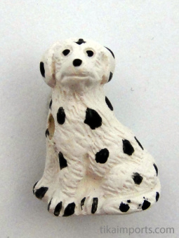 ceramic Dalmation dog bead - handmade and painted in Peru