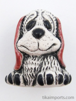 ceramic puppy dog bead - handmade and painted in Peru