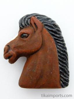 ceramic horse head bead - handmade and painted in Peru