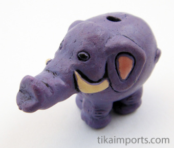 ceramic purple elephant bead - handmade and painted in Peru