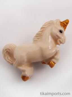 ceramic white unicorn bead - handmade and painted in Peru