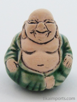 ceramic green buddha bead - handmade and painted in Peru