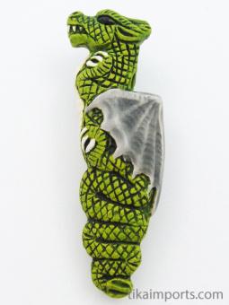 ceramic green dragon bead - handmade and painted in Peru