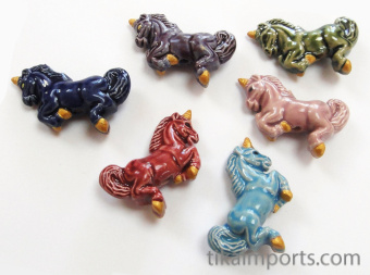 ceramic unicorn beads in assorted colors - handmade and painted in Peru