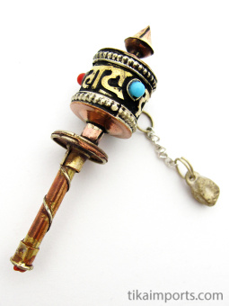 miniature brass and copper prayer-wheel