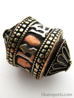 Miniature brass and copper prayer-wheel bead