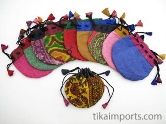 Small silk-sari drawstring pouches handmade in Nepal