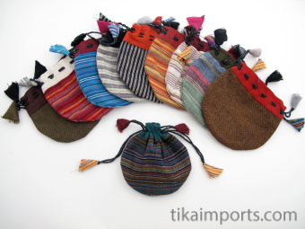 Small cotton drawstring pouches handmade in Nepal