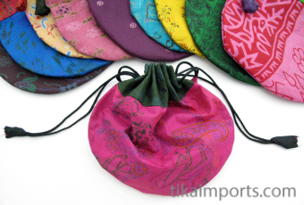 closeup of Medium silk-sari drawstring pouches handmade in Nepal