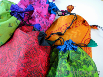 Large silk-sari drawstring pouches, handmade in Nepal