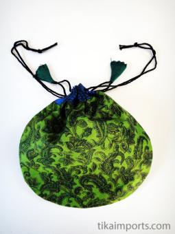 Large silk-sari drawstring pouch, handmade in Nepal