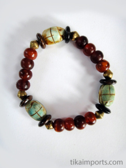 Scarab stretch bracelets with horn, bone and brass