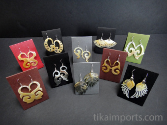 10pr assortment of hand-carved shell earrings with sterling silver ear wires