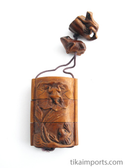 traditional handcarved boxwood inro box with carved frogs on lily pads