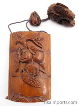 handcarved boxwood Inro box with carved Cicadas, view of reverse side