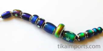 sample strand of our original color-changing Mirage beads with brass core