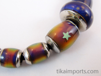 sample strand of our original color-changing Mirage beads with brass core showing color range