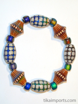 Tika's colour changing Mirage Bead Bracelet strung on stretch-magic elastic