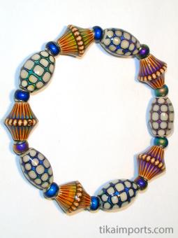 Tika's colour changing Mirage Bead Bracelet strung on stretch-magic elastic