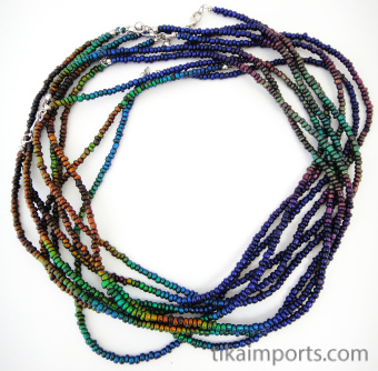 multiple strands of thermo-sensitive color-changing Micro Mirage necklace