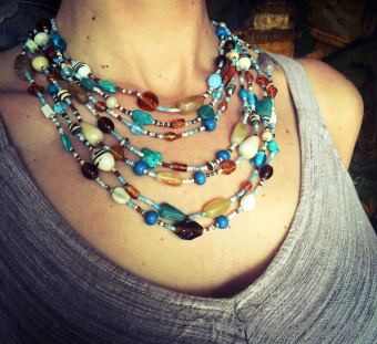 Example of a multi-strand Malala Necklace in blue tones.