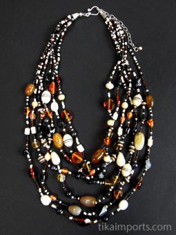 Glass and natural stone multi-strand Malala Necklace in black and brown tones