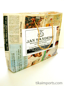 large Jan Sandesh Newspaper Gift Bag shown open