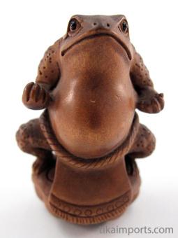 handcarved boxwood netsuke of sumo frog
