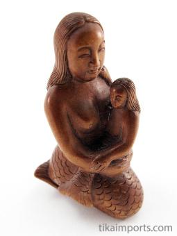 handcarved boxwood netsuke of mermaid with child