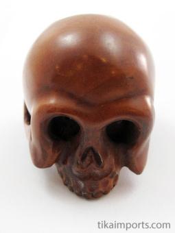 handcarved boxwood netsuke of realistic skull