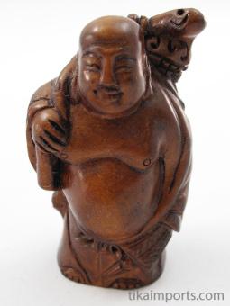 handcarved boxwood netsuke of buddha