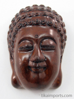 handcarved boxwood netsuke of buddha head