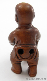 handcarved boxwood netsuke of mouse and baby showing hole through rear end