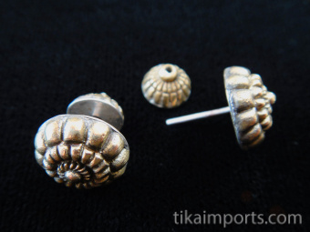 Handcrafted brass earrings with sterling silver posts and decorative friction closure in back