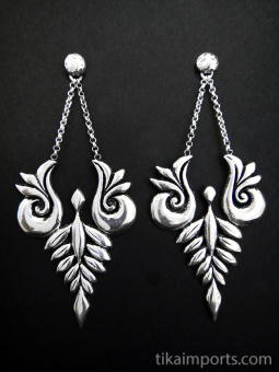 Handcrafted brass earrings plated in sterling silver with sterling silver posts and friction closure in back