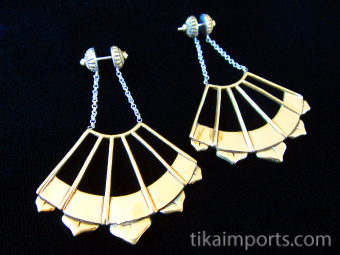 Handcrafted brass earrings with solid sterling silver post earwires