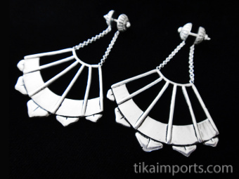 Handcrafted brass earrings plated in sterling silver with solid sterling silver post earwires