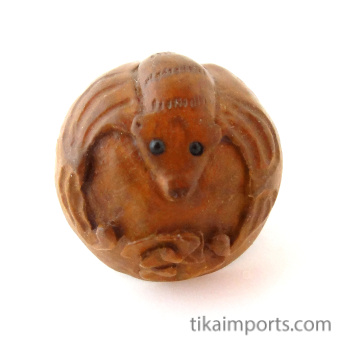 handcarved boxwood bat button