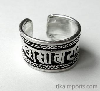Silver-Tone Om Ring