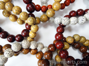 closeup of Lotus Seed Bracelets- showing variety in a typical 10pc assortment