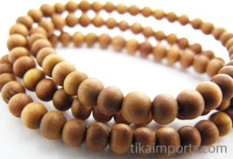 Prayer bead mala strand of 108 naturally fragrant 5mm sandalwood beads