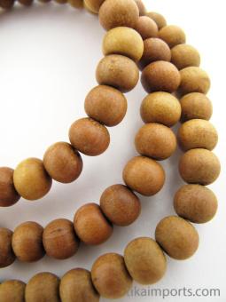 Prayer bead mala strand of 108 naturaly fragrant 8mm sandalwood beads