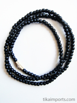 3mm ebony wood necklace coiled