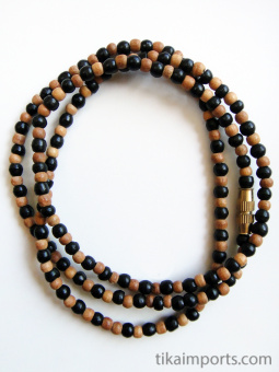 3mm sandalwood and ebony wood necklace coiled