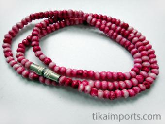 3mm Pink Rainbow Bone Necklace